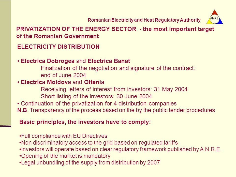 PRIVATIZATION OF THE ENERGY SECTOR - the most important target