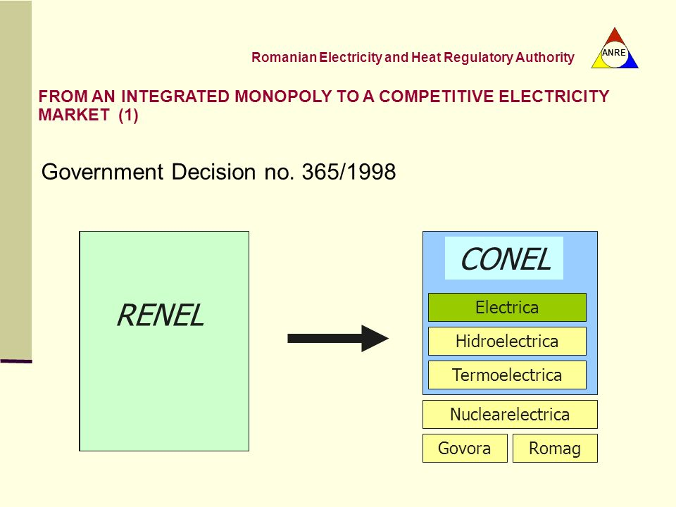 CONEL RENEL RENEL Government Decision no. 365/1998