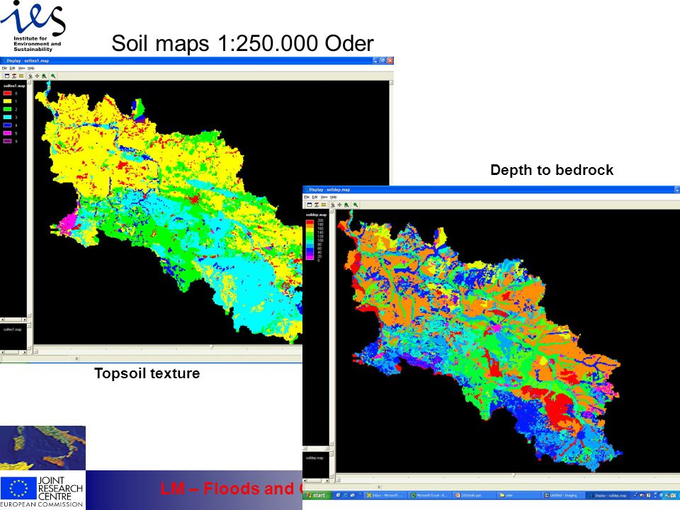 Soil maps 1:250.000 Oder Depth to bedrock Topsoil texture