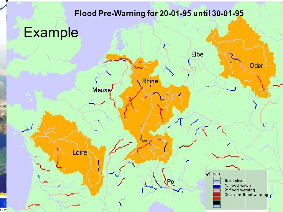 Example Flood Pre-Warning for 20-01-95 until 30-01-95 0: all clear