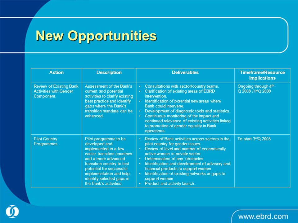 New Opportunities Action Description Deliverables Timeframe/Resource