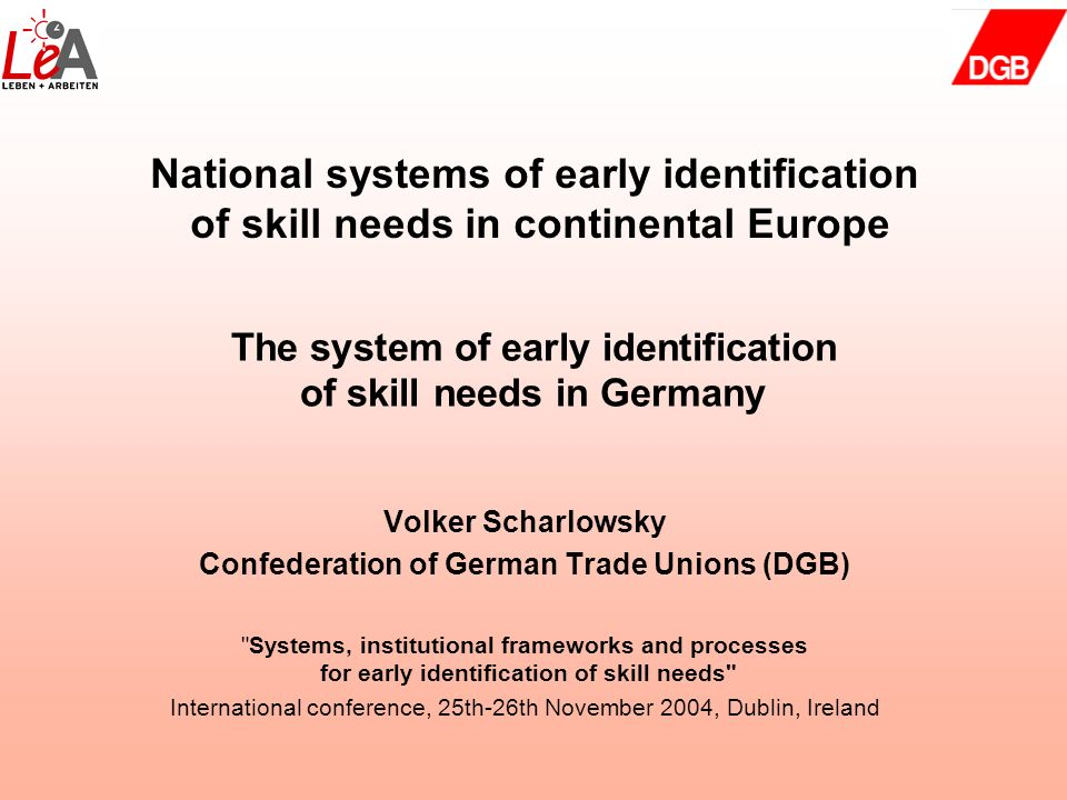 The system of early identification of skill needs in Germany