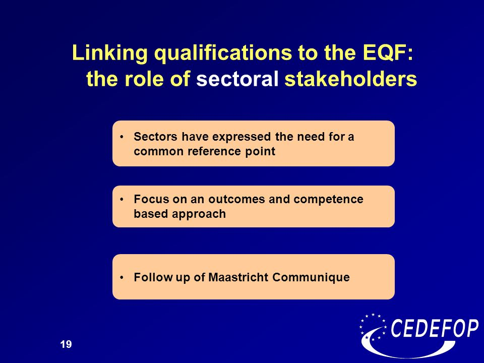 Linking qualifications to the EQF: the role of sectoral stakeholders