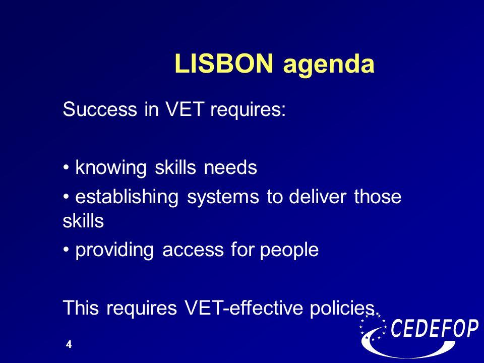 LISBON agenda Success in VET requires: knowing skills needs