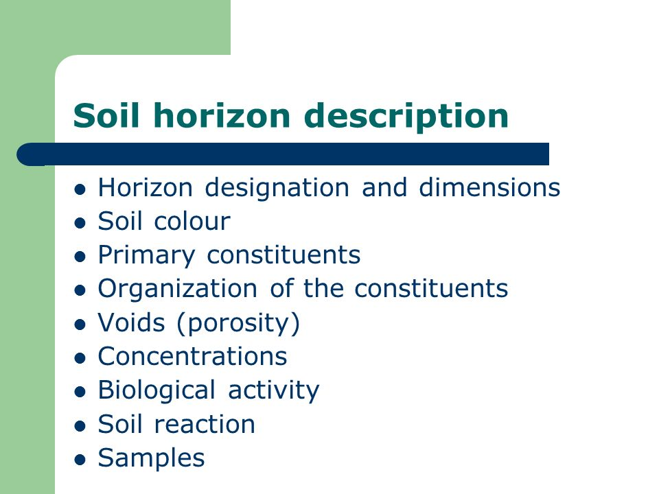 Soil horizon description