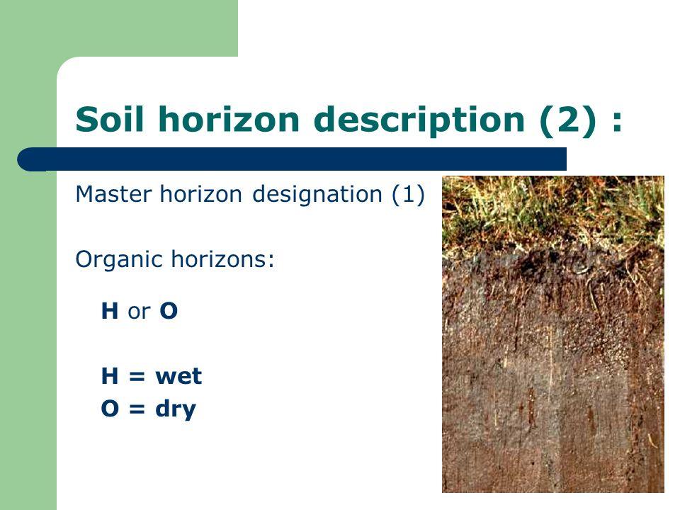 Soil horizon description (2) :