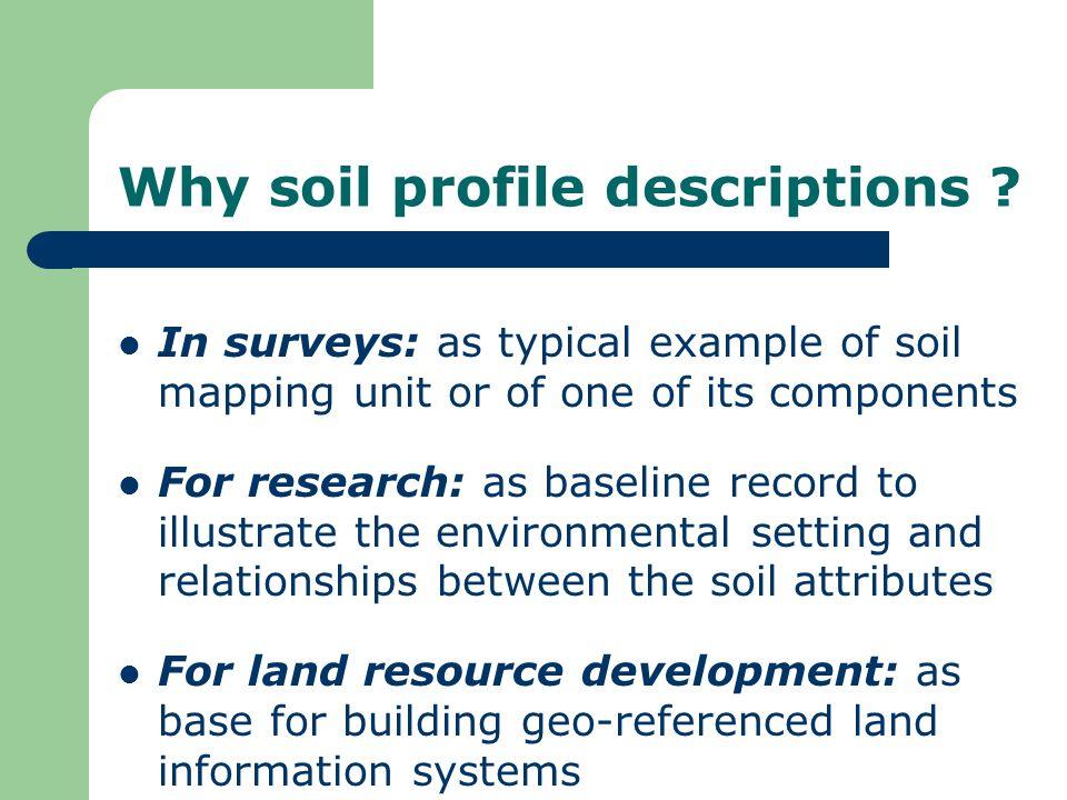 Why soil profile descriptions