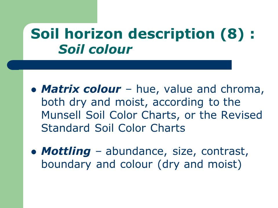 Soil horizon description (8) : Soil colour