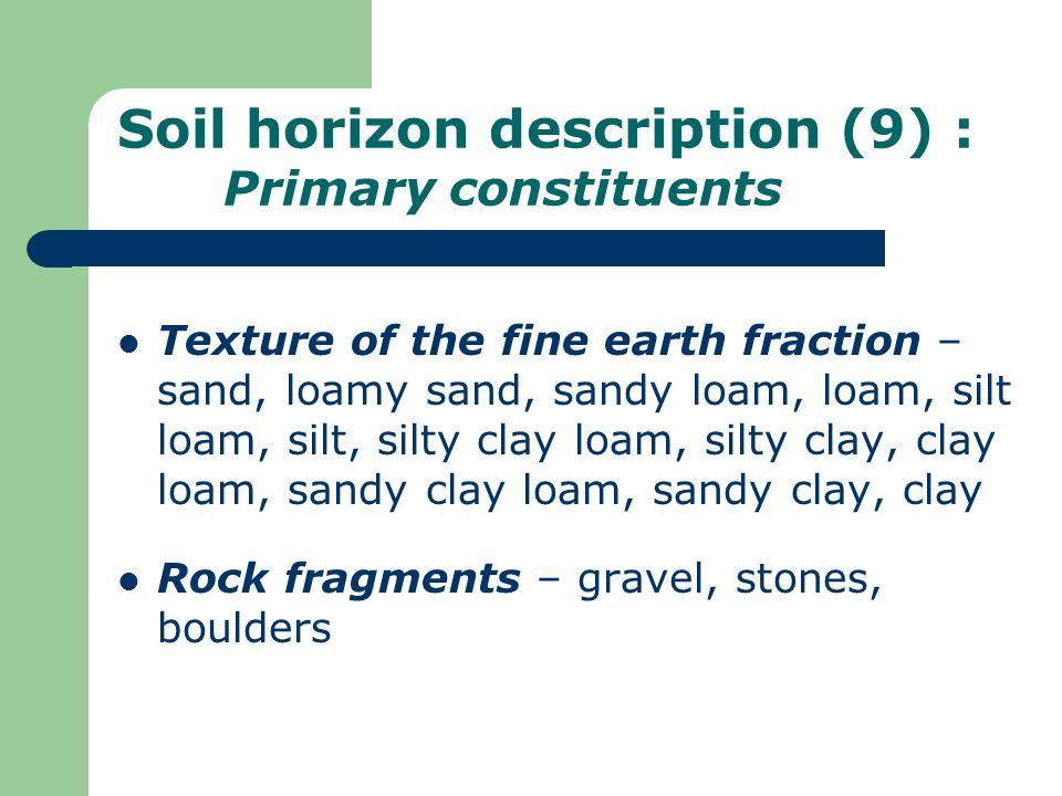 Soil horizon description (9) : Primary constituents