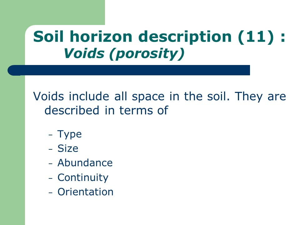 Soil horizon description (11) : Voids (porosity)