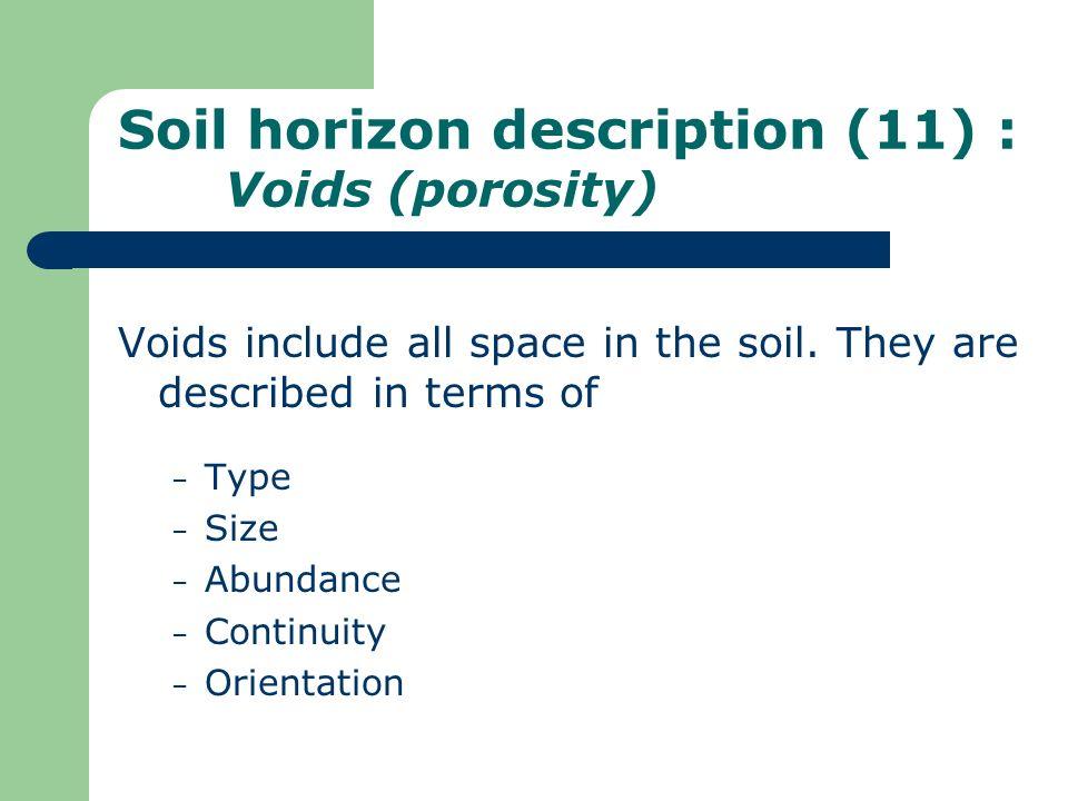 Soil horizon description (11) : Voids (porosity)