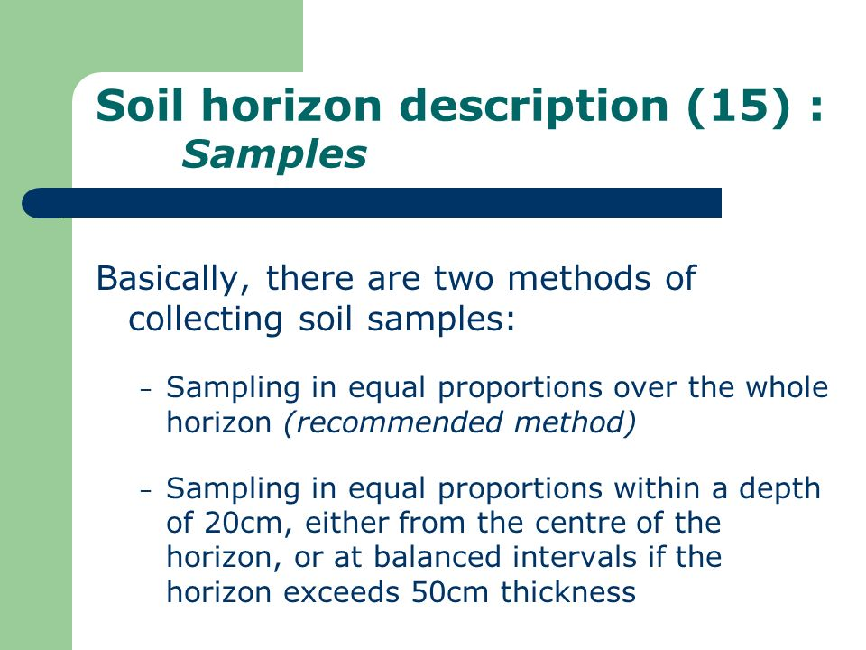 Soil horizon description (15) : Samples