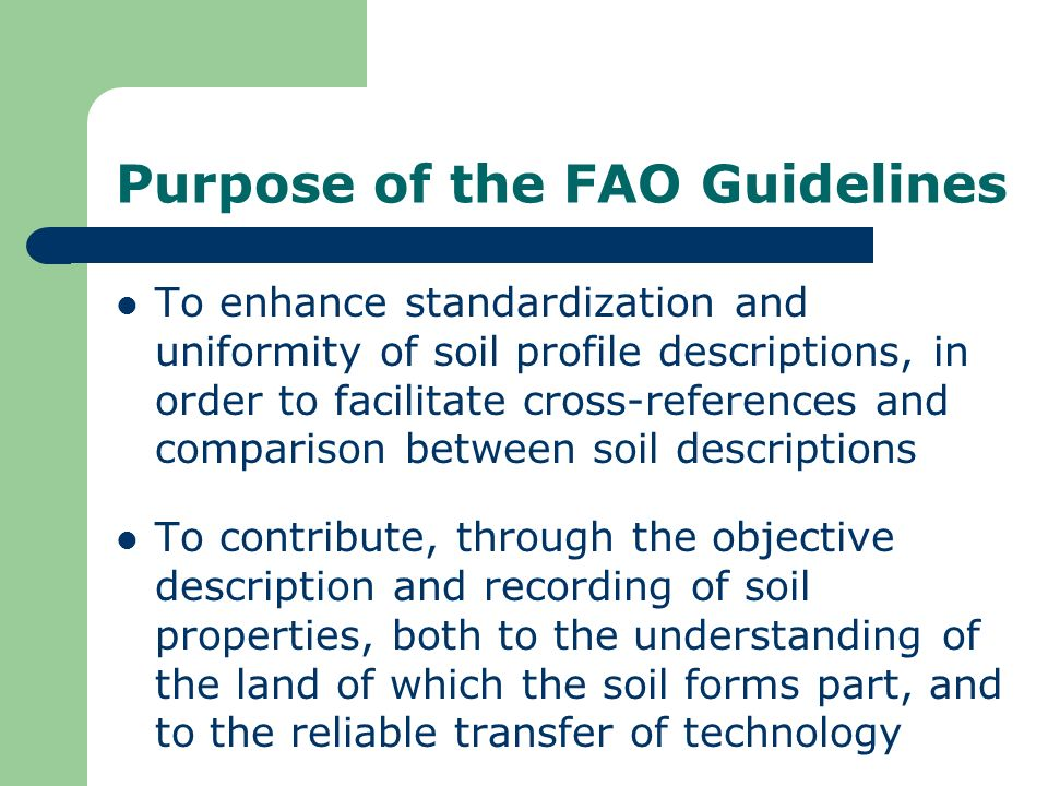 Purpose of the FAO Guidelines