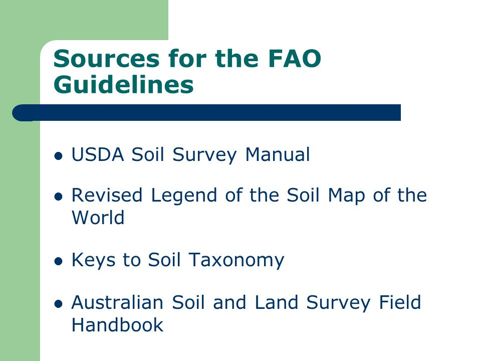 Sources for the FAO Guidelines