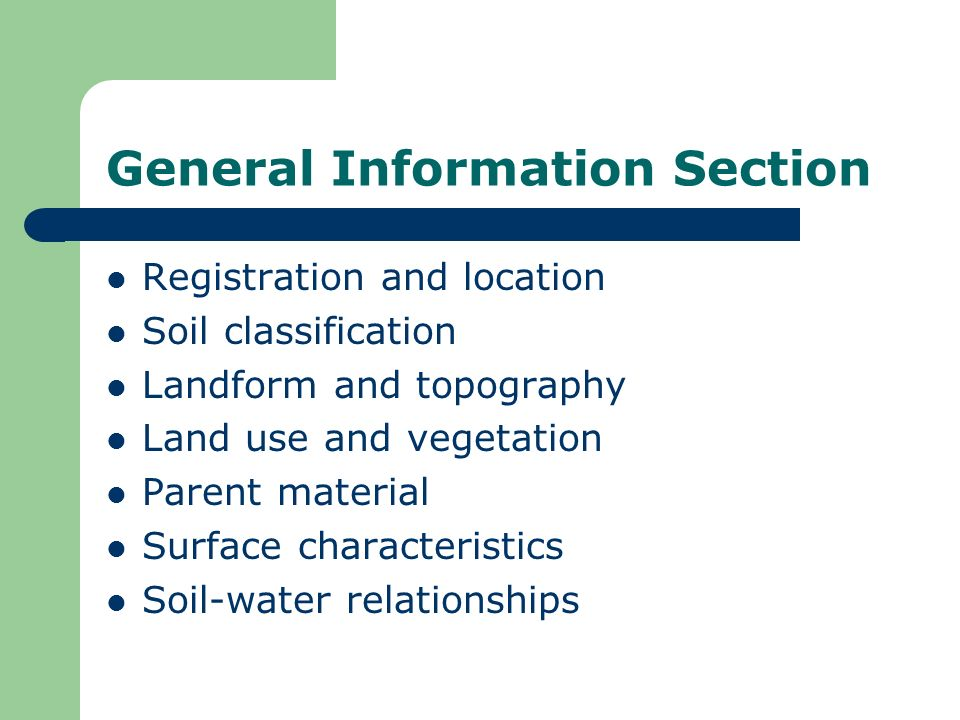 General Information Section