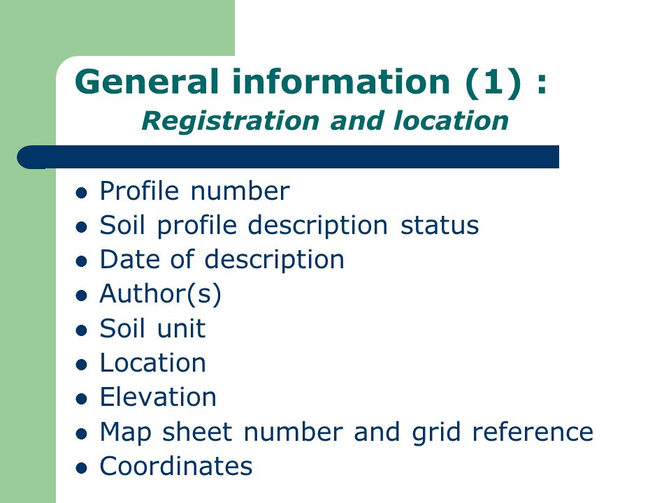 General information (1) : Registration and location