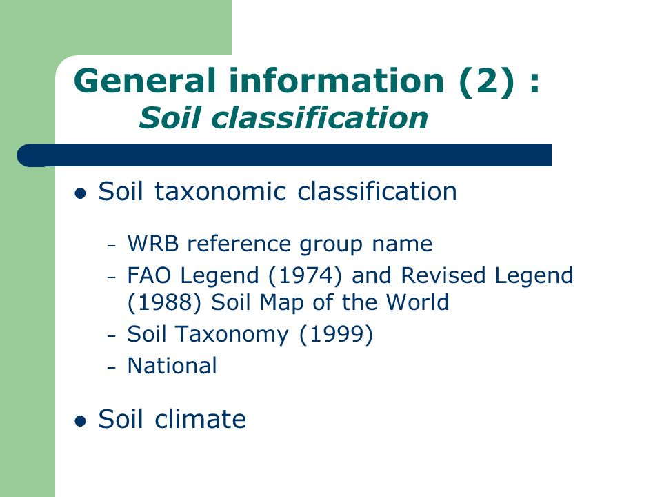 General information (2) : Soil classification
