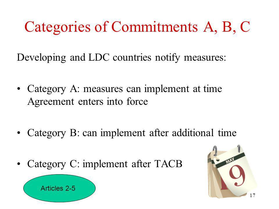 Categories of Commitments A, B, C
