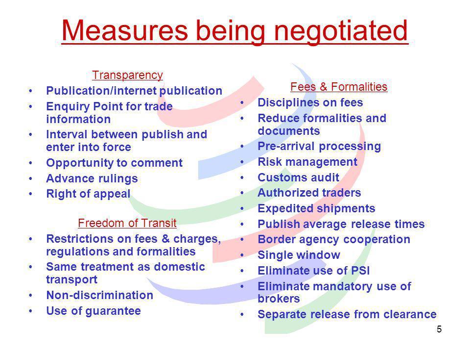Measures being negotiated