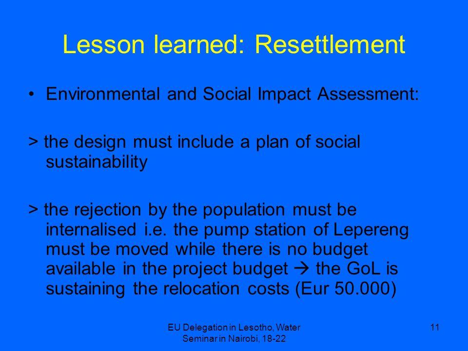Lesson learned: Resettlement