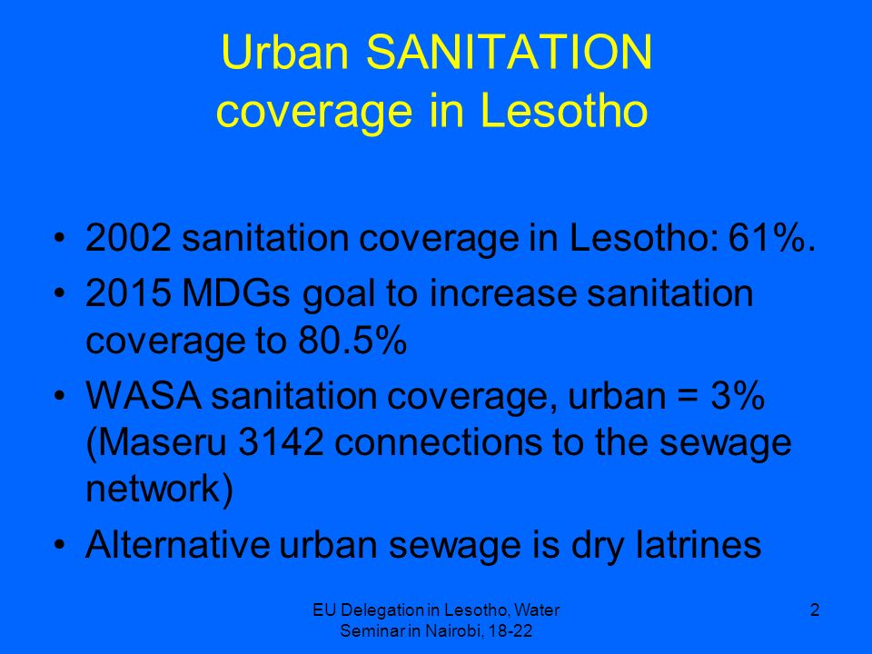 Urban SANITATION coverage in Lesotho