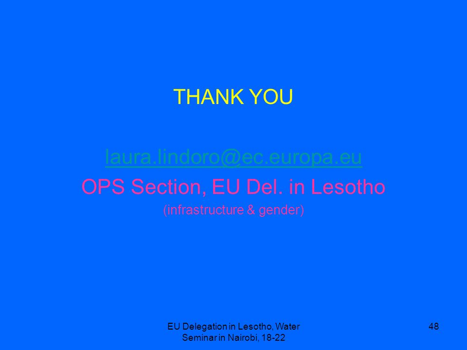 OPS Section, EU Del. in Lesotho