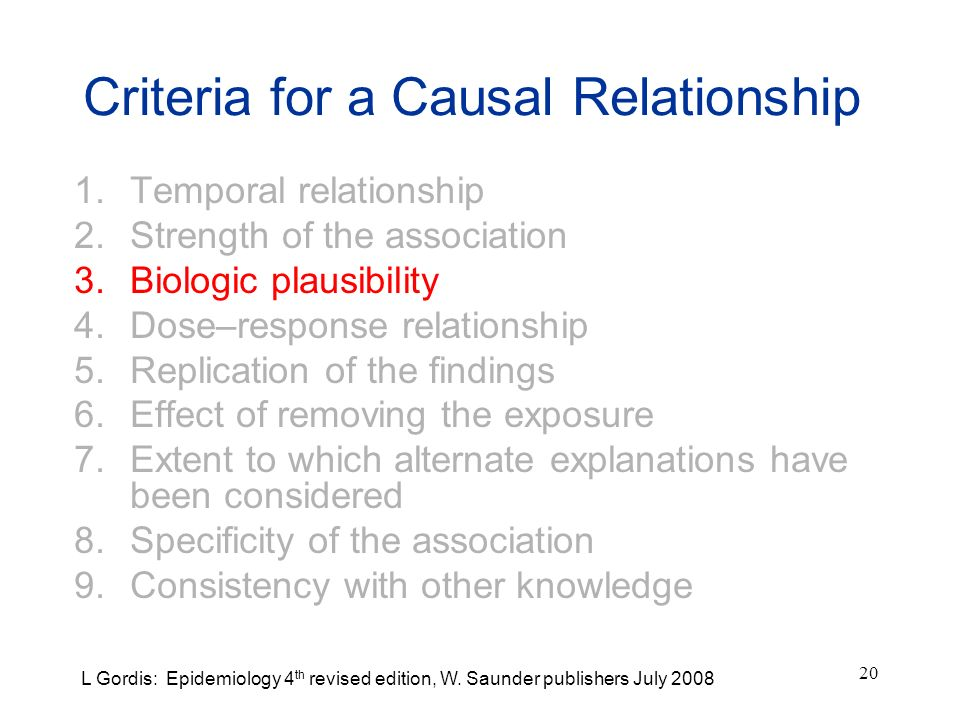 Criteria for a Causal Relationship