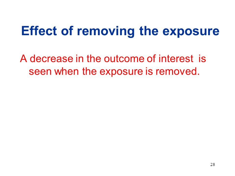 Effect of removing the exposure