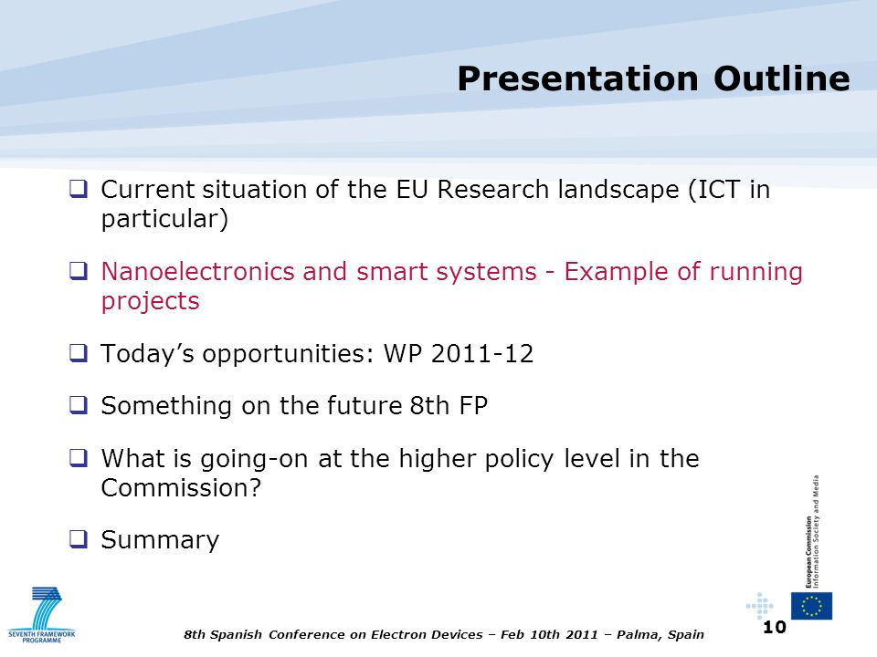 Presentation Outline Current situation of the EU Research landscape (ICT in particular)