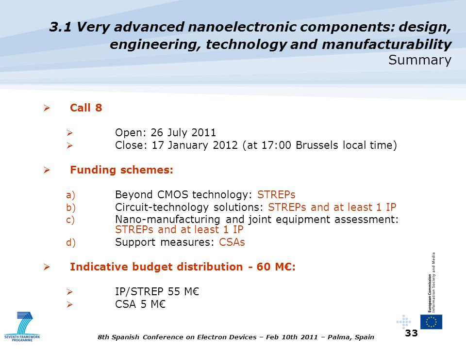 3.1 Very advanced nanoelectronic components: design, engineering, technology and manufacturability Summary