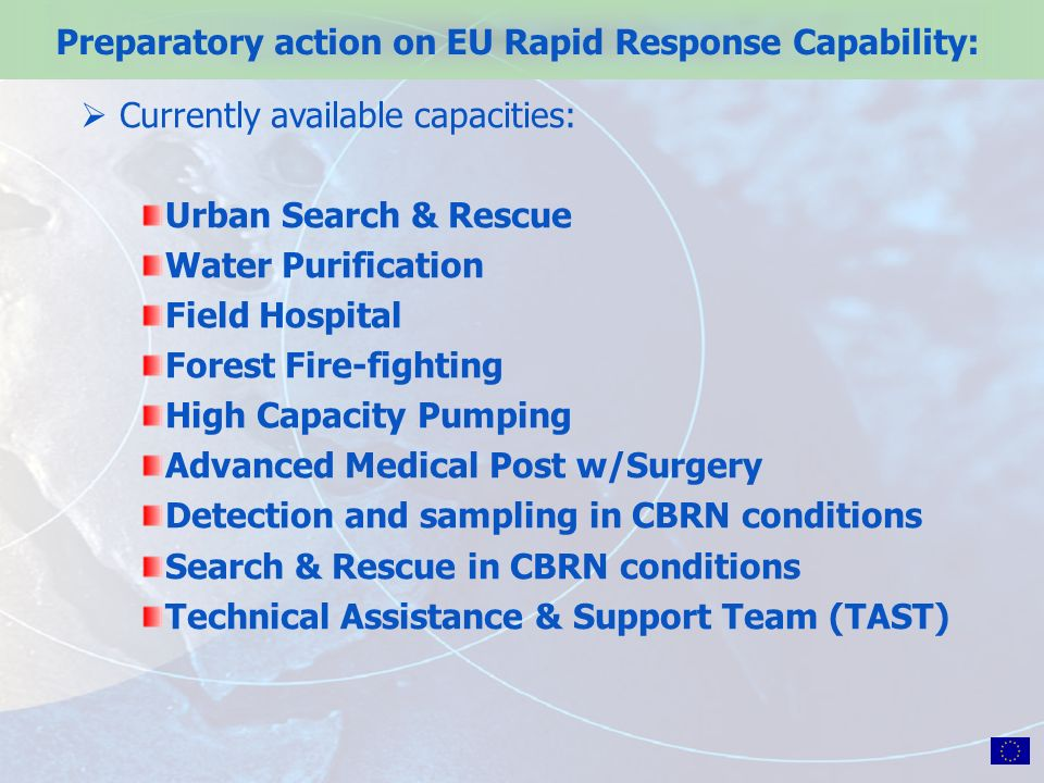 Preparatory action on EU Rapid Response Capability: