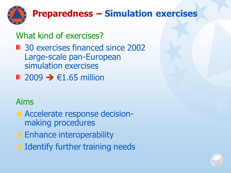 Preparedness – Simulation exercises