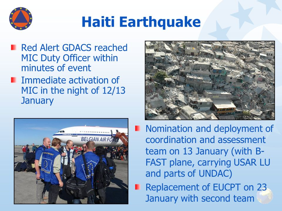 Haiti Earthquake Red Alert GDACS reached MIC Duty Officer within minutes of event. Immediate activation of MIC in the night of 12/13 January.