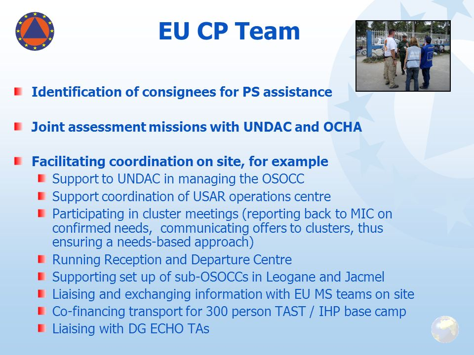 EU CP Team Identification of consignees for PS assistance