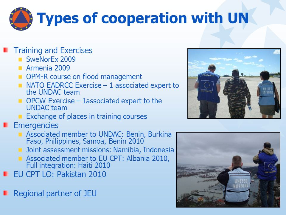 Types of cooperation with UN