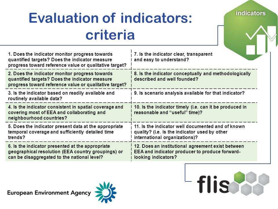 Evaluation of indicators: criteria