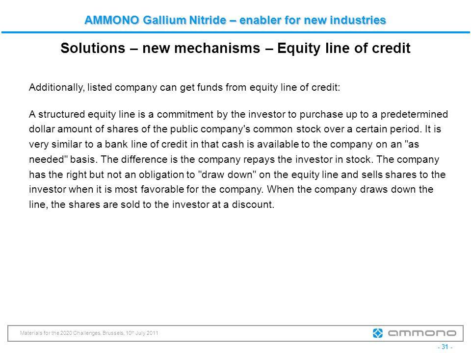 Solutions – new mechanisms – Equity line of credit