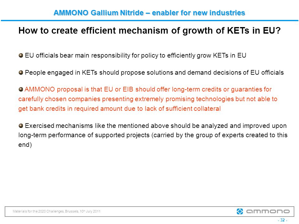 How to create efficient mechanism of growth of KETs in EU