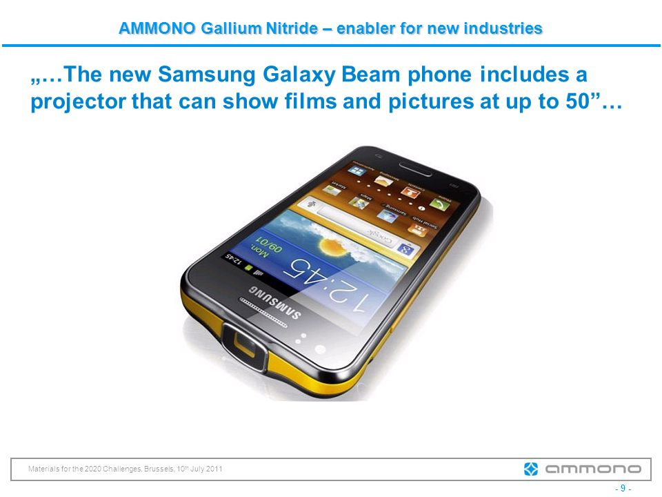 """…The new Samsung Galaxy Beam phone includes a projector that can show films and pictures at up to 50 …"