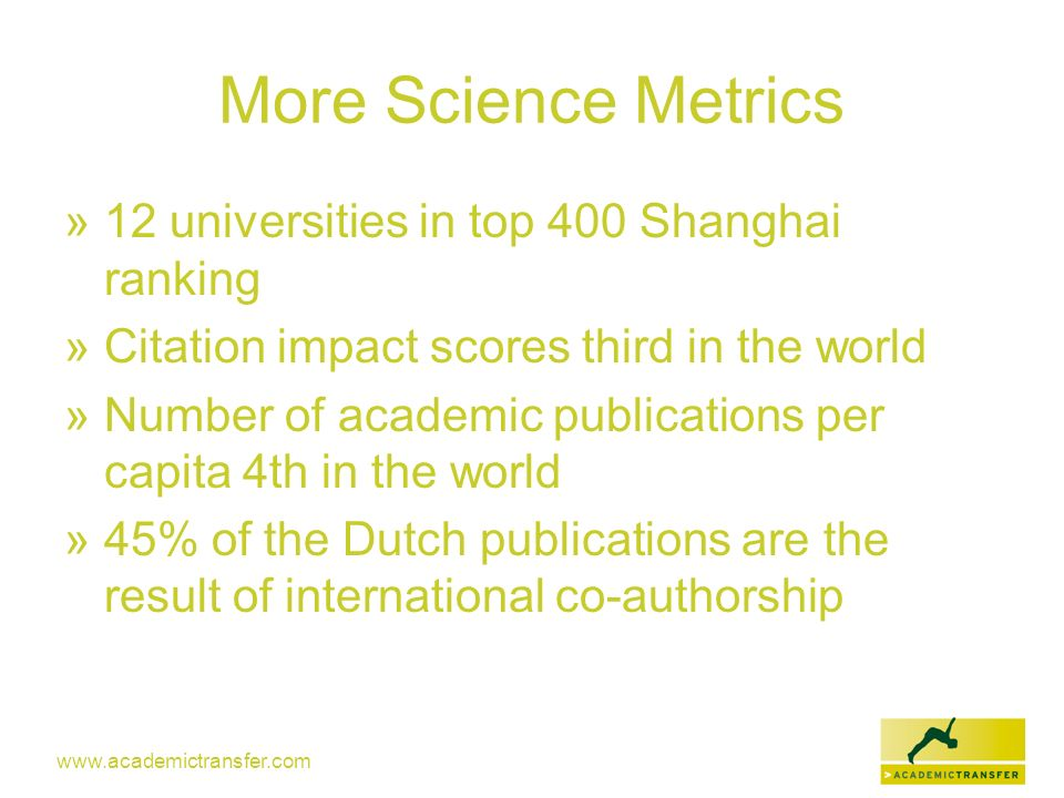 More Science Metrics 12 universities in top 400 Shanghai ranking