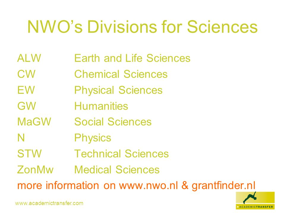 NWO's Divisions for Sciences