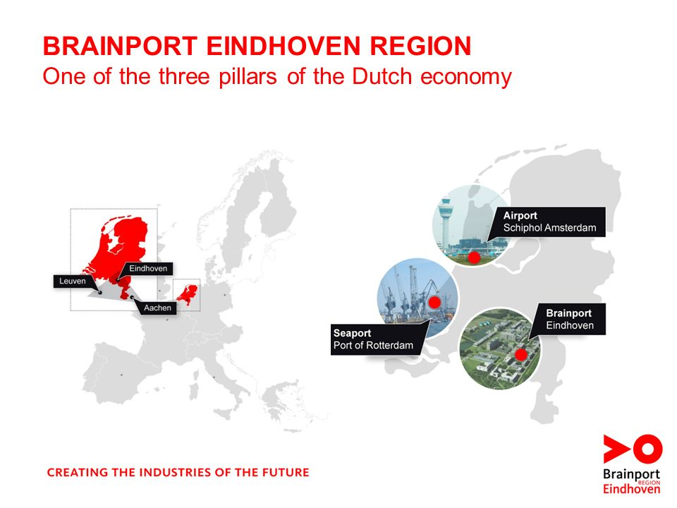 BRAINPORT EINDHOVEN REGION One of the three pillars of the Dutch economy