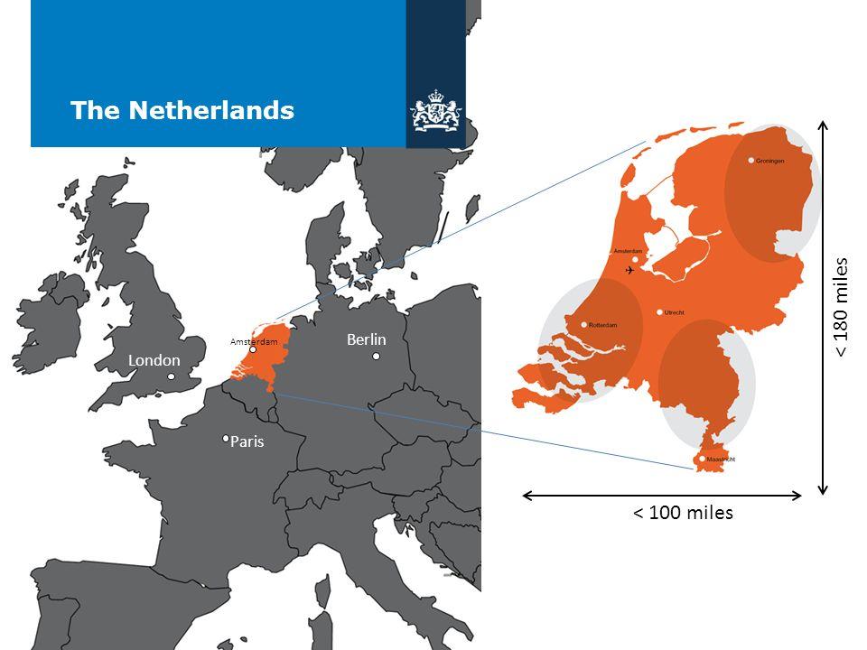 The Netherlands < 180 miles < 100 miles Berlin London Paris