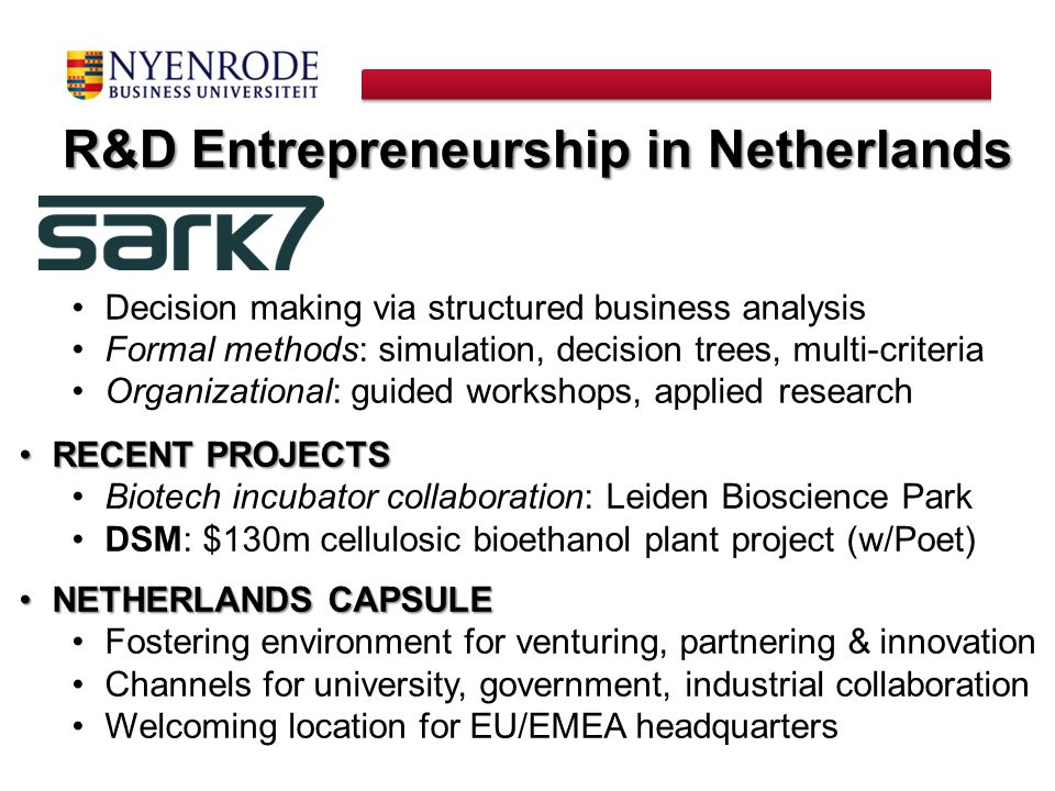 R&D Entrepreneurship in Netherlands
