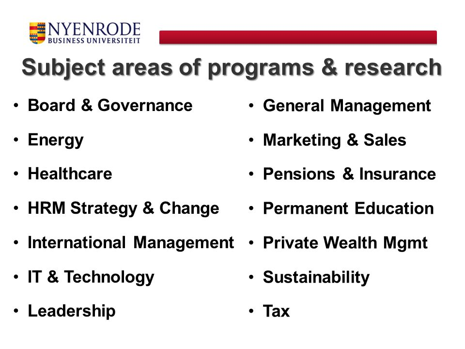 Subject areas of programs & research