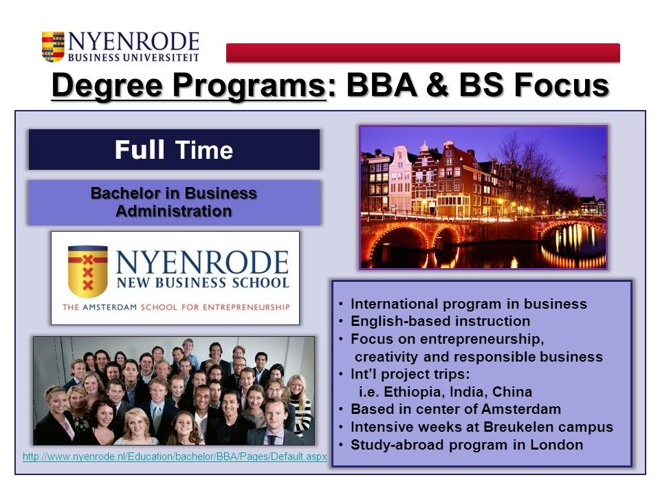 Degree Programs: BBA & BS Focus Bachelor in Business Administration
