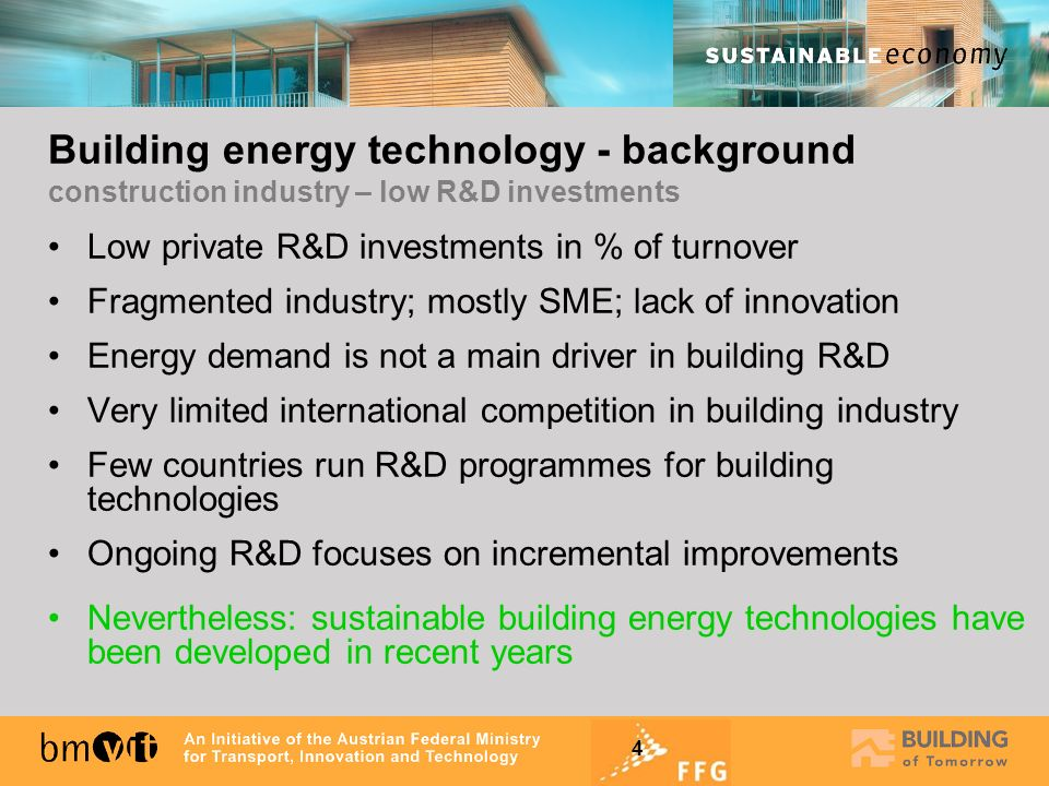 Building energy technology - background construction industry – low R&D investments