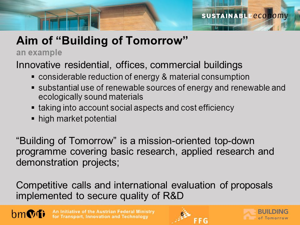 Aim of Building of Tomorrow an example