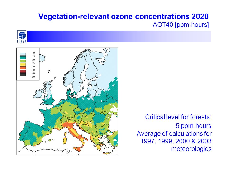 Vegetation-relevant ozone concentrations 2020 AOT40 [ppm.hours]