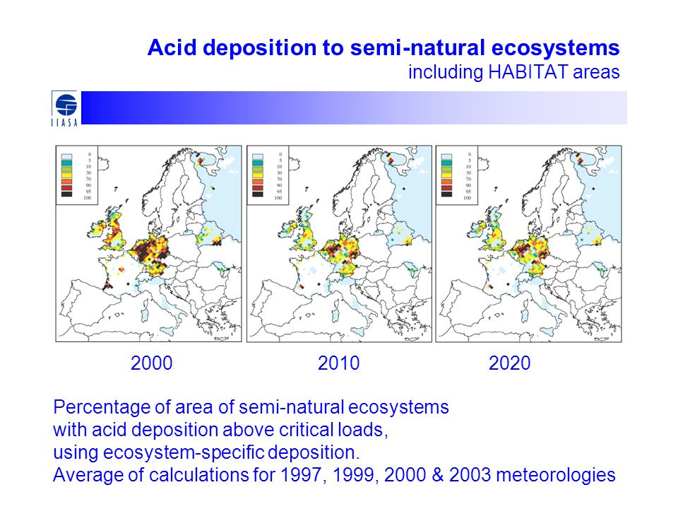 Acid deposition to semi-natural ecosystems including HABITAT areas